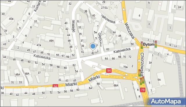 Bytom, Katowicka, 61, mapa Bytomia