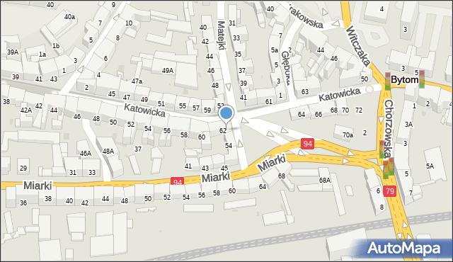 Bytom, Katowicka, 62a, mapa Bytomia