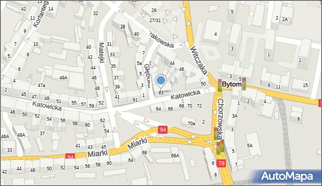 Bytom, Katowicka, 63, mapa Bytomia