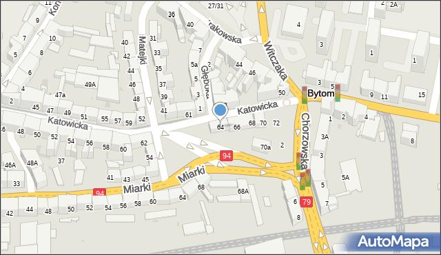 Bytom, Katowicka, 64, mapa Bytomia