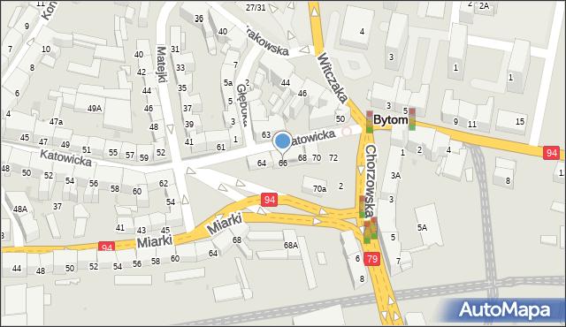 Bytom, Katowicka, 66, mapa Bytomia