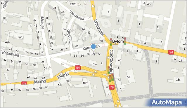 Bytom, Katowicka, 70, mapa Bytomia