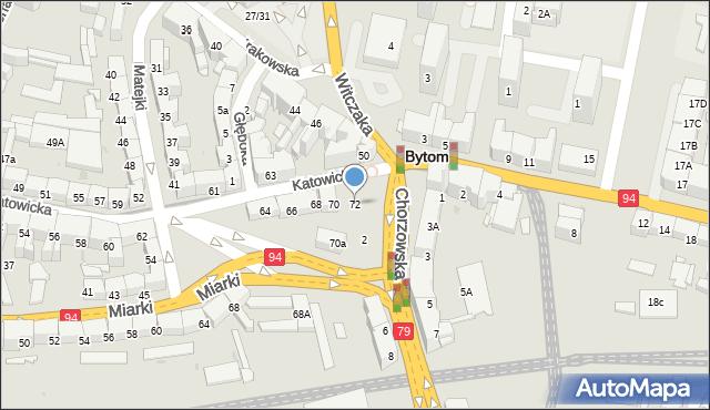Bytom, Katowicka, 72, mapa Bytomia