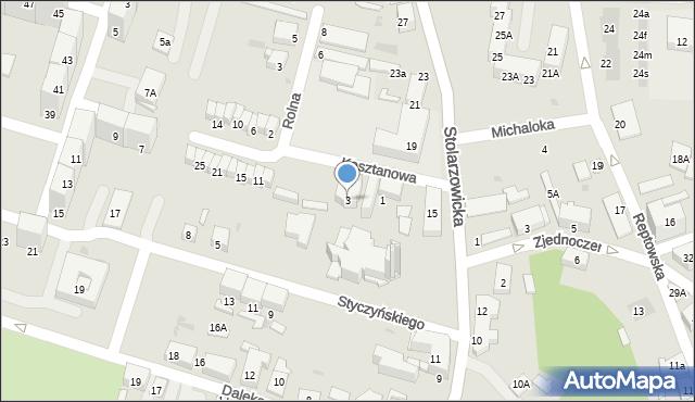 Bytom, Kasztanowa, 3, mapa Bytomia