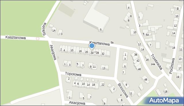 Chocianów, Kasztanowa, 24, mapa Chocianów