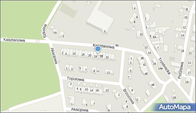 Chocianów, Kasztanowa, 26, mapa Chocianów