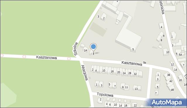 Chocianów, Kasztanowa, 3, mapa Chocianów