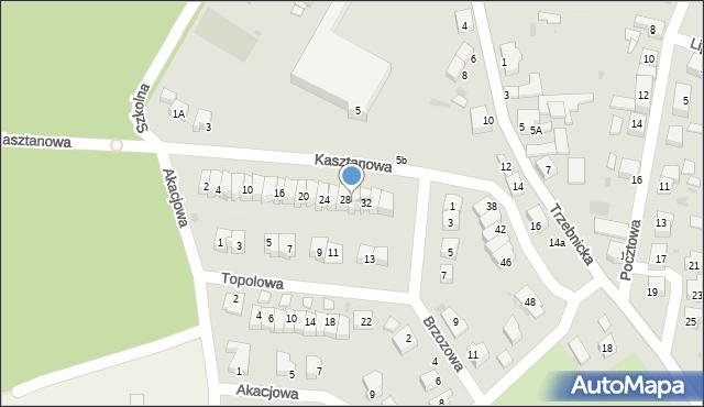 Chocianów, Kasztanowa, 30, mapa Chocianów