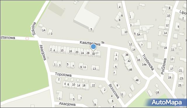 Chocianów, Kasztanowa, 32, mapa Chocianów