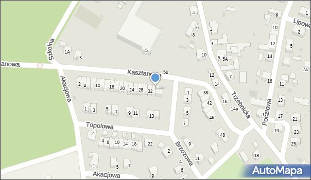 Chocianów, Kasztanowa, 34, mapa Chocianów