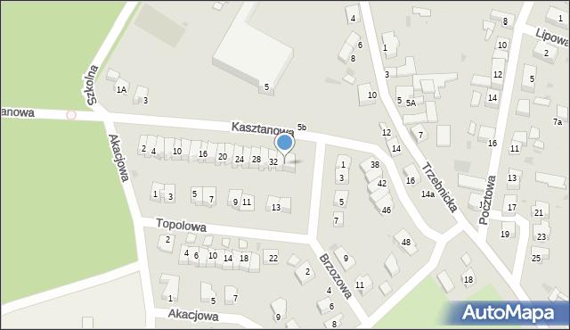 Chocianów, Kasztanowa, 36, mapa Chocianów