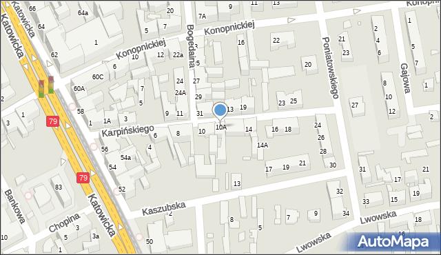 Chorzów, Karpińskiego Franciszka, 10A, mapa Chorzów