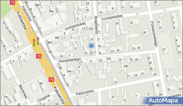 Chorzów, Karpińskiego Franciszka, 11, mapa Chorzów
