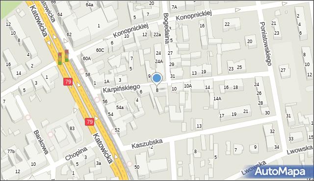 Chorzów, Karpińskiego Franciszka, 8, mapa Chorzów