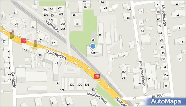 Chorzów, Katowicka, 16B, mapa Chorzów