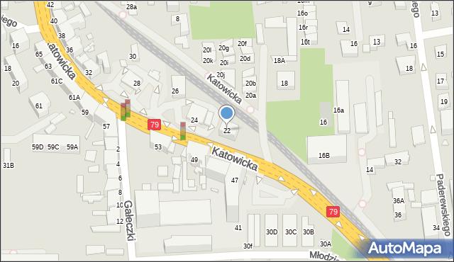 Chorzów, Katowicka, 22, mapa Chorzów
