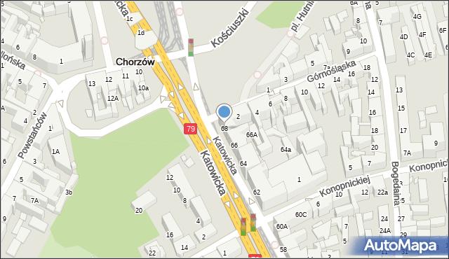 Chorzów, Katowicka, 68, mapa Chorzów