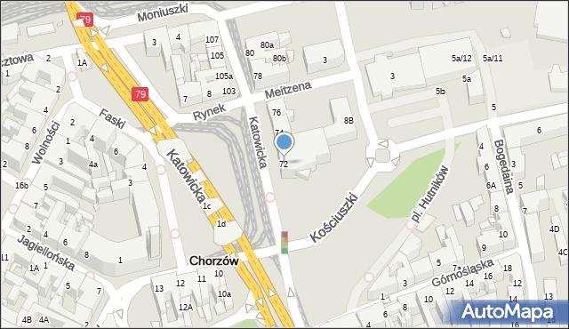 Chorzów, Katowicka, 72, mapa Chorzów