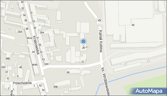 Częstochowa, Kanał Kohna, 20, mapa Częstochowy