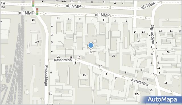 Częstochowa, Katedralna, 14, mapa Częstochowy