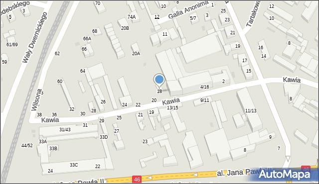 Częstochowa, Kawia, 18, mapa Częstochowy