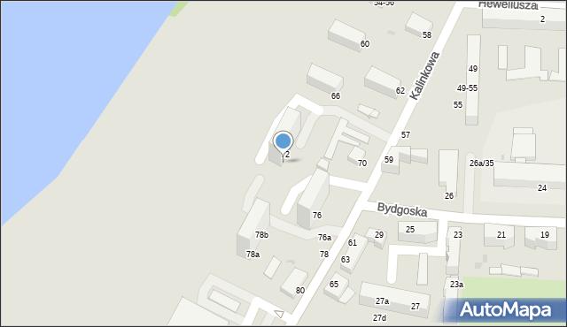 Grudziądz, Kalinkowa, 74, mapa Grudziądza