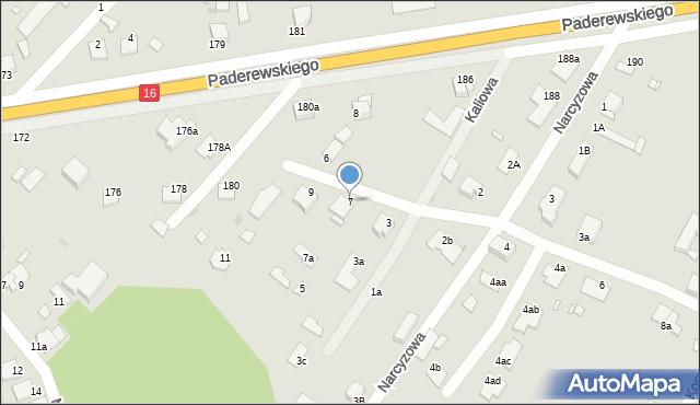 Grudziądz, Kaliowa, 7, mapa Grudziądza