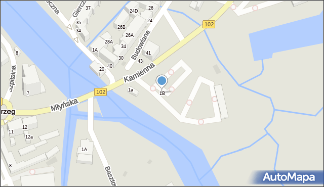 Kołobrzeg, Kamienna, 1B, mapa Kołobrzegu