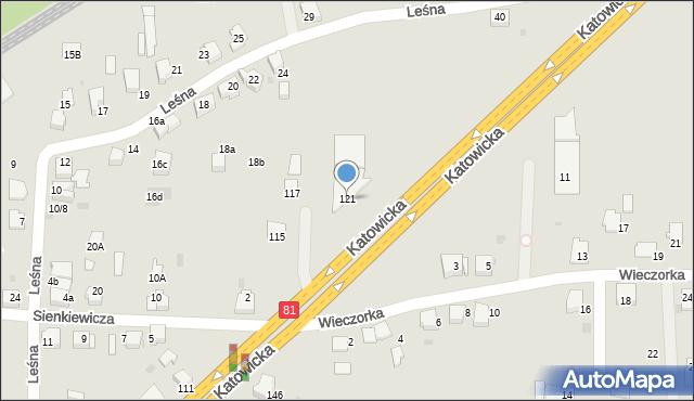 Mikołów, Katowicka, 121, mapa Mikołów