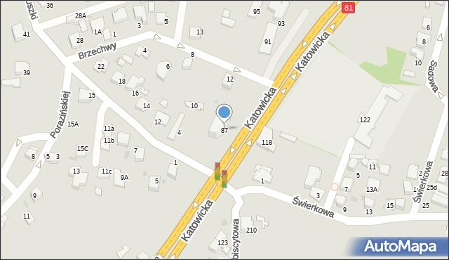 Mikołów, Katowicka, 87, mapa Mikołów