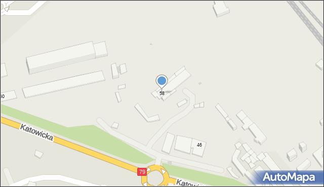 Mysłowice, Katowicka, 58, mapa Mysłowice