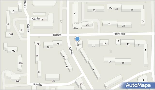 Olsztyn, Kanta Immanuela, 1a, mapa Olsztyna