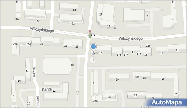 Olsztyn, Kanta Immanuela, 1c, mapa Olsztyna