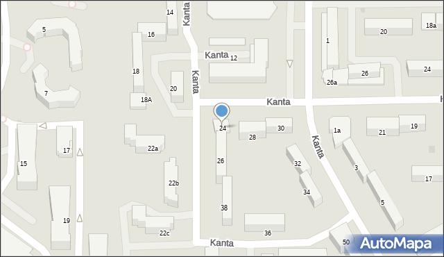 Olsztyn, Kanta Immanuela, 24, mapa Olsztyna