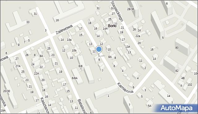 Radom, Kamienna, 9A, mapa Radomia