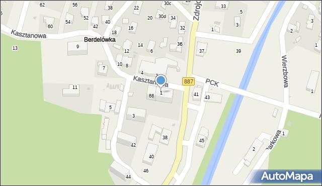 Rymanów-Zdrój, Kasztanowa, 1, mapa Rymanów-Zdrój