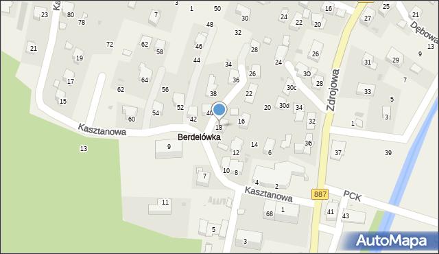 Rymanów-Zdrój, Kasztanowa, 18, mapa Rymanów-Zdrój