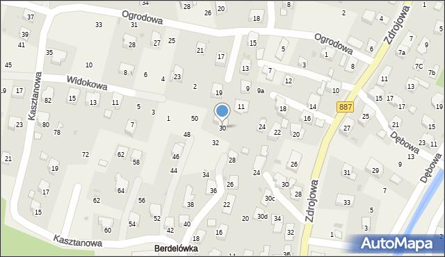 Rymanów-Zdrój, Kasztanowa, 30, mapa Rymanów-Zdrój