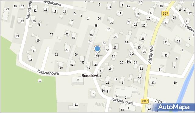 Rymanów-Zdrój, Kasztanowa, 38, mapa Rymanów-Zdrój