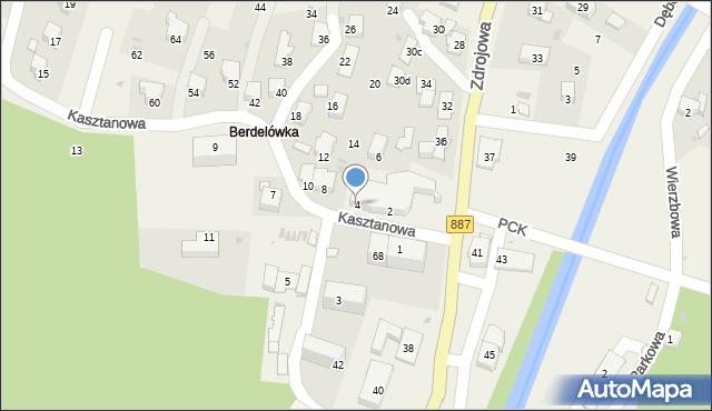 Rymanów-Zdrój, Kasztanowa, 4, mapa Rymanów-Zdrój