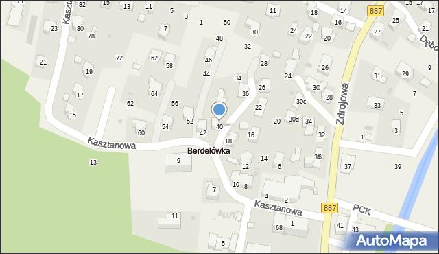 Rymanów-Zdrój, Kasztanowa, 40, mapa Rymanów-Zdrój
