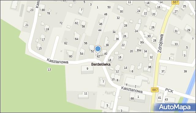 Rymanów-Zdrój, Kasztanowa, 42, mapa Rymanów-Zdrój