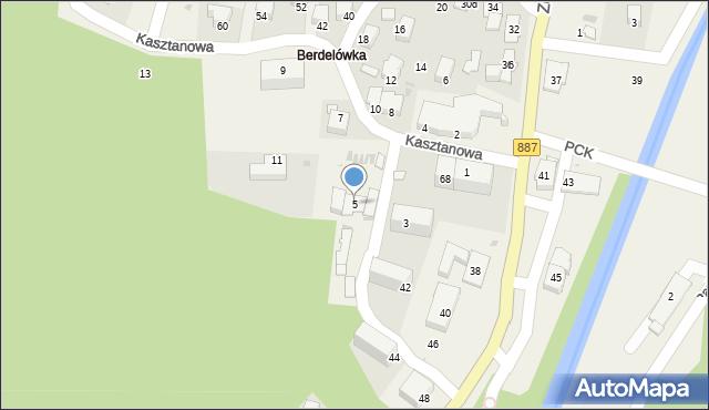 Rymanów-Zdrój, Kasztanowa, 5, mapa Rymanów-Zdrój