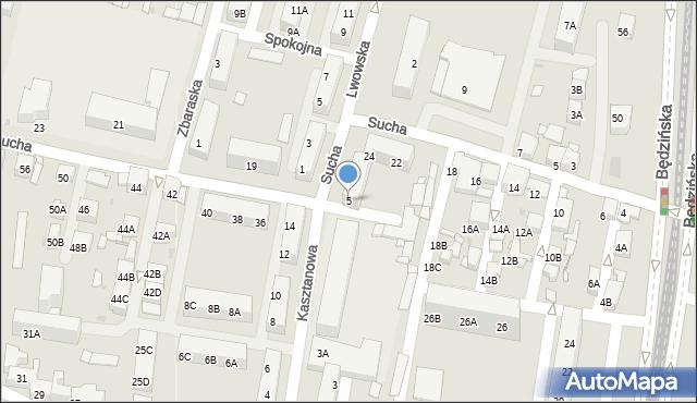 Sosnowiec, Kasztanowa, 5, mapa Sosnowca