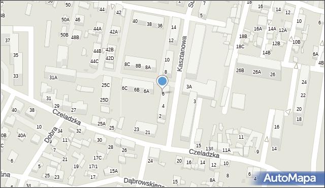 Sosnowiec, Kasztanowa, 6, mapa Sosnowca