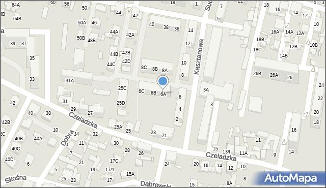 Sosnowiec, Kasztanowa, 6A, mapa Sosnowca