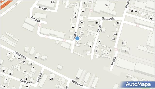 Sosnowiec, Kacza, 22, mapa Sosnowca