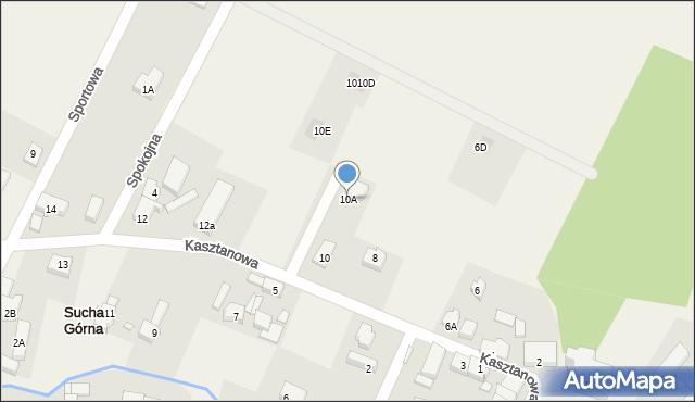 Sucha Górna, Kasztanowa, 10A, mapa Sucha Górna