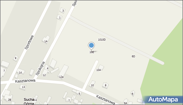 Sucha Górna, Kasztanowa, 10E, mapa Sucha Górna
