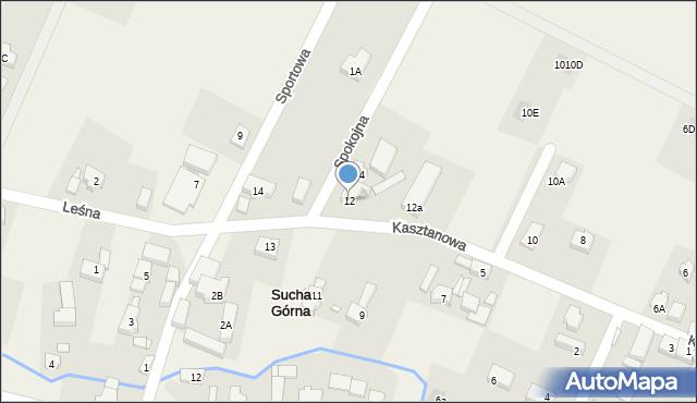 Sucha Górna, Kasztanowa, 12, mapa Sucha Górna